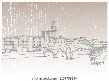 Scene street illustration. Hand drawn ink line sketch European old town Verona, Italy with buildings, windows, bridge. Ink drawing of cityscape, perspective view. Travel postcard.
