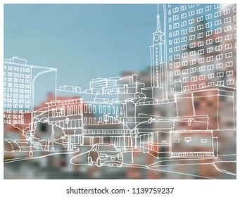 Scene street illustration. Hand drawn ink line sketch Dallas, Texas with buildings, windows, cityscape, people, cars  in outline style perspective view. Postcards design.