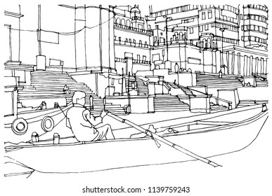 Scene street illustration. Hand drawn ink line sketch Indian town Varanasi, India with buildings,boats, river, stairs, cityscape  in outline style perspective view. Postcards design.