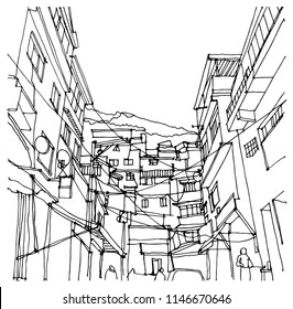 Scene street  illustration. Hand drawn ink line sketch of Rio de Janeiro favela,slums, Brazil. Postcards design in outline style, perspective view.
