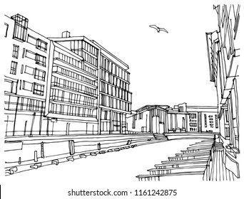 Scene street illustration. Hand drawn ink line sketch European old town, Oslo, Norway with buildings, ships in outline style. Ink drawing of cityscape, perspective view. Travel postcard.