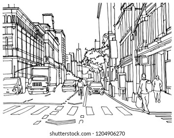 Scene street illustration. Hand drawn ink line sketch New York city, USA with buildings, windows, cityscape, people, cars  in outline style perspective view. Panorama perspective postcards design.