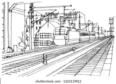 Scene street illustration. Hand drawn ink line sketch Berlin city, Germany  with buildings,construction, subway station, train in outline style perspective view. Postcards design.