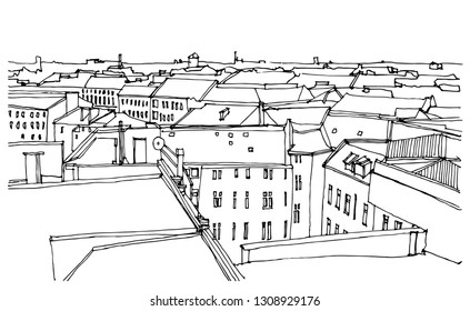 Scene street illustration. Hand drawn ink line sketch European old town, historical architecture  with buildings, roofs in outline style. Ink drawing of cityscape, birds eye view. Travel postcard.