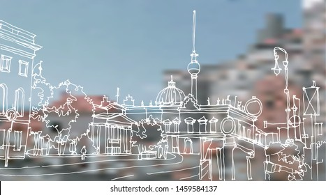 Scene street illustration. Hand drawn ink line sketch European old town Berlin, Germany with buildings, roofs in outline style. Ink drawing of cityscape, perspective view. Travel postcard.