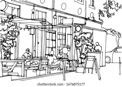 Scene street illustration. Hand drawn ink line sketch European old town, historical architecture with buildings, cafe,open terrace in outline style.  Travel postcard.