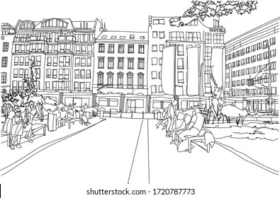 Scene street illustration. Hand drawn ink line sketch European old town Berlin , Germany  with buildings, people, roofs in outline style. Ink drawing of cityscape, perspective view. Travel postcard.
