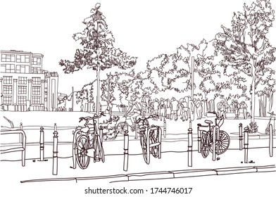 Scene street illustration. Hand drawn ink line sketch European old town Berlin , Germany  with buildings, bicycles, bike in outline style. Ink drawing of cityscape, perspective view. Travel postcard.