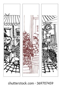 Scene street illustration. Hand drawn ink line sketch European old town and cafe with chairs, tables in outline style. Ink drawing of cityscape, perspective view. Travel postcard. Set of bookmarks.