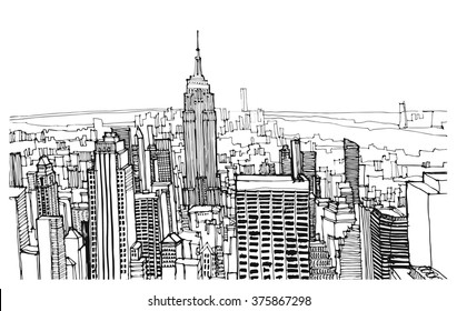 Scene street illustration. Hand drawn ink line sketch New York city, Manhattan  with buildings, roofs,  bridge, cityscape, skyline  in outline style perspective view. Postcards design.