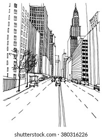 Scene street illustration. Hand drawn ink line sketch New York city,Manhattan  with buildings, traffic light,stairs, cityscape  in outline style perspective view. Financial district. Postcards design.