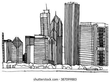 Scene street illustration. Hand drawn ink line sketch Chicago city skyline with buildings, roofs, skyscrapers, cityscape  in outline style perspective view. Postcards design.
