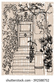 Scene street illustration. Hand drawn ink line sketch European old town, door,foliage, trees, exterior and bicycle  in outline style. Ink drawing of perspective view. Travel postcard.