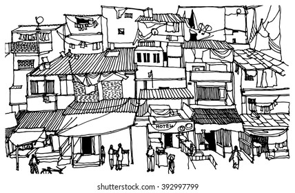 Scene street  illustration. Hand drawn ink line sketch of Mumbai slums, India. Postcards design in outline style, perspective view.