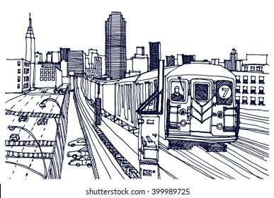 Scene street illustration. Hand drawn ink line sketch New York city, Brooklyn  with buildings,construction, subway station, train in outline style perspective view. Postcards design.