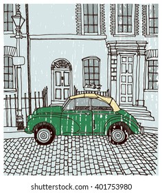 Scene street illustration. Hand drawn ink line vintage sketch European old town , historical architecture with car, buildings,windows . Ink drawing of cityscape, perspective view. Travel postcard.