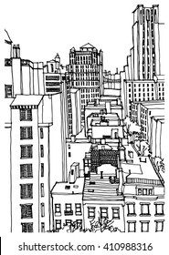 Scene street illustration. Hand drawn ink line sketch New York city, Manhattan with buildings,office,cityscape  in outline style perspective view. Postcards design.