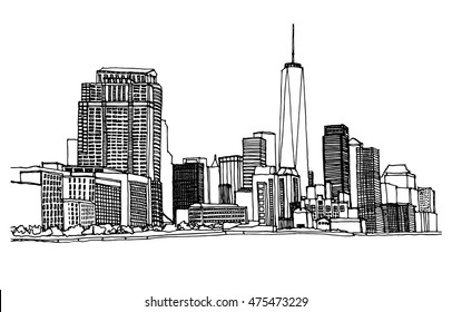 Scene street illustration. Hand drawn ink line sketch New York city,  with buildings, river, cityscape  in outline style perspective view. Postcards design.