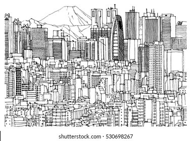 Scene street illustration. Hand drawn ink line sketch Tokyo,  Japan with buildings, skyscrapers cityscape, mountains in outline style perspective view. Postcards design