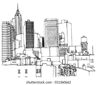 Scene street illustration. Hand drawn ink line sketch New York city, with buildings, windows, cityscape  in outline style perspective view. Postcards design.