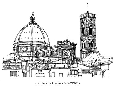 Scene street illustration. Hand drawn ink line sketch European old town Florence, historical architecture with buildings, windows . Ink drawing of cityscape, perspective view. Travel postcard.