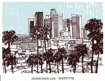 Scene street illustration, panorama skyline.. Hand drawn ink line sketch Los Angeles city, America, with buildings,road, cityscape  in outline style perspective view. Postcards design.