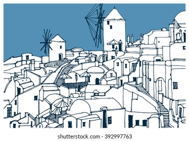 Scene street, panorama illustration. Hand drawn ink line sketch of Santorini, Thira island, Greece. Postcards design in outline style, perspective view.