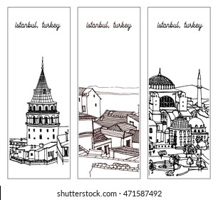 Scene street, panorama illustration. Hand drawn ink line sketch of European city, Istanbul , Turkey with Galata tower, roofs. Postcards  in outline style, perspective view. Bookmarks design.