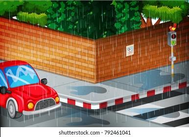 Scene with street in the rain illustration