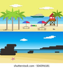 Scene of Summer Beach For Vocation with ship, lifeguard tower, Palm Trees and Coral.Flat Style Vector Illustration.