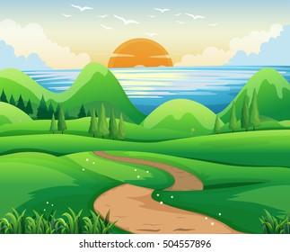 Scene with sunset at sea illustration