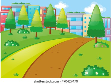 Scene with tall buildings and park illustration