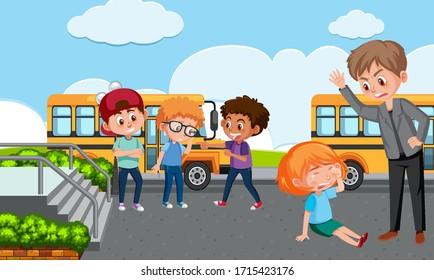 Scene with teacher bullying their kid at school illustration