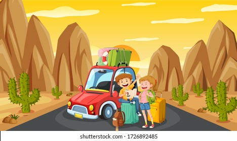 Scene with tourist driving on the road at sunset illustration