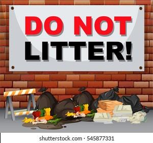 Scene with trash under the sign do not litter illustration