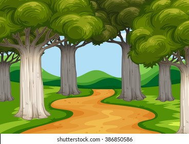 Scene with trees along the road illustration