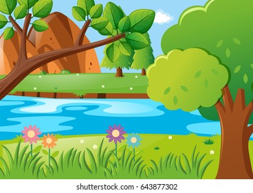 Scene with trees and river illustration