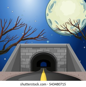 Scene with tunnel at night illustration