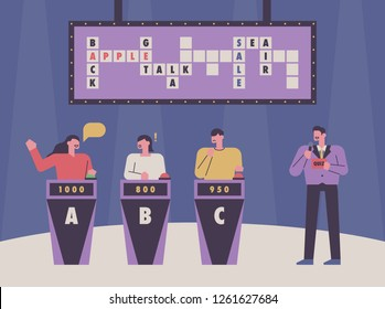A scene of a TV quiz show. The host is running the show, and the participants are doing a cross puzzle quiz. concept illustration. flat design vector graphic style.