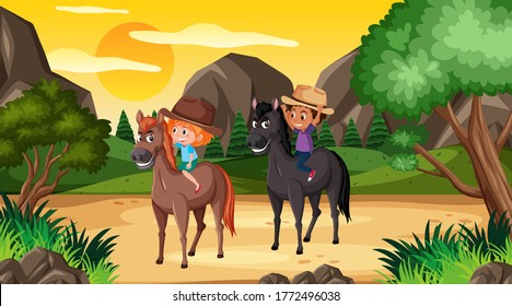 Scene with two kids riding horses in the woods illustration