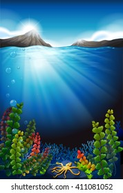 Scene with underwater and mountains illustration