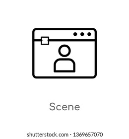 scene vector line icon. Simple element illustration. scene outline icon from user concept. Can be used for web and mobile