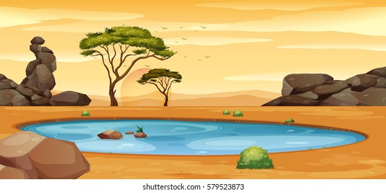Scene with water hole on the ground illustration