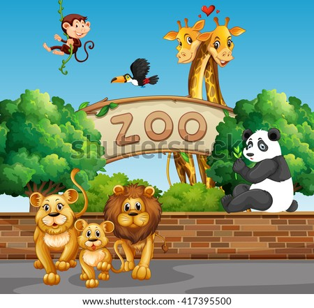 scene wild animals zoo illustration のベクター画像素材