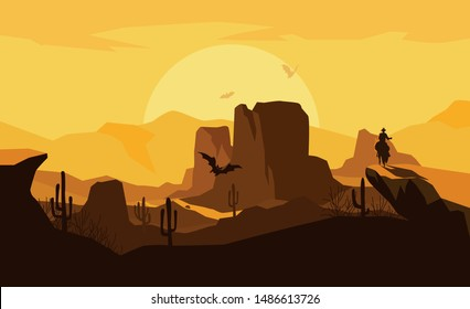 The scene of the wild west in the sunset with cowboy riding a horse, vector illustration and design.