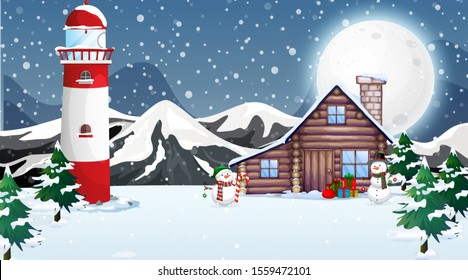 Scene with wooden house in winter illustration