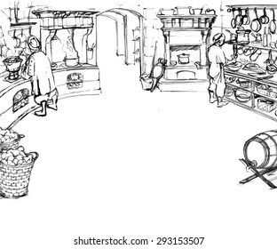 Scene of work of cooks in kitchen in an old castle. Illustration in sketchy style. Vector.