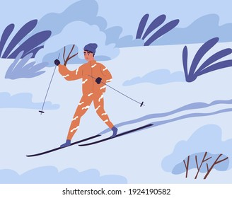 Scene with young person skiing in winter alone. Skier sliding alone in nature in cold and frosty weather. Colored flat vector illustration of young man during outdoor activity