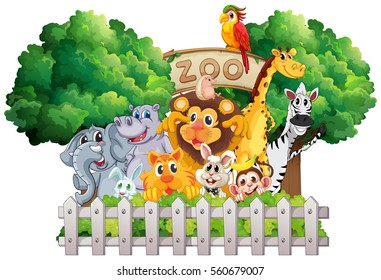 Scene with zoo animals and sign illustration