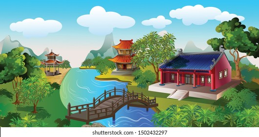 The scenery of the ancient Chinese house  in front of is the bridge over the stream and in the back are mountains surrounded by beautiful natural trees.